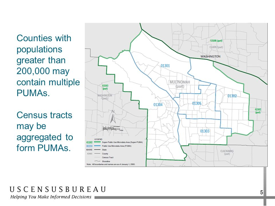 Counties with populations greater than 200,000 may contain multiple PUMAs.