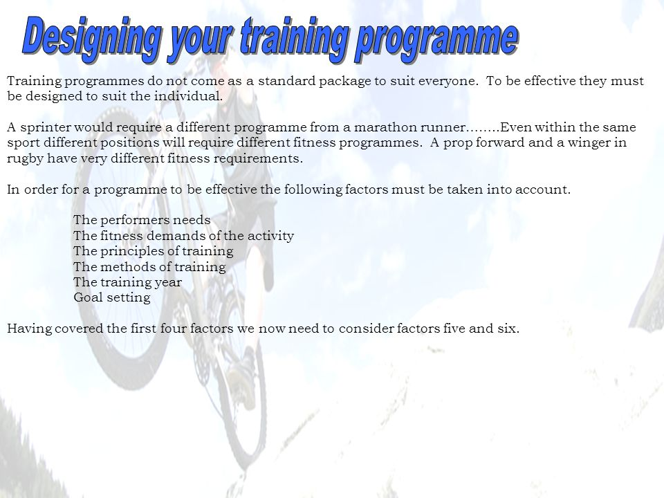 Designing your training programme