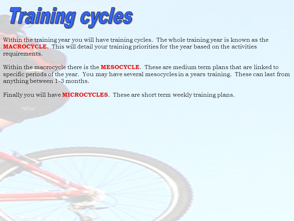 Training cycles