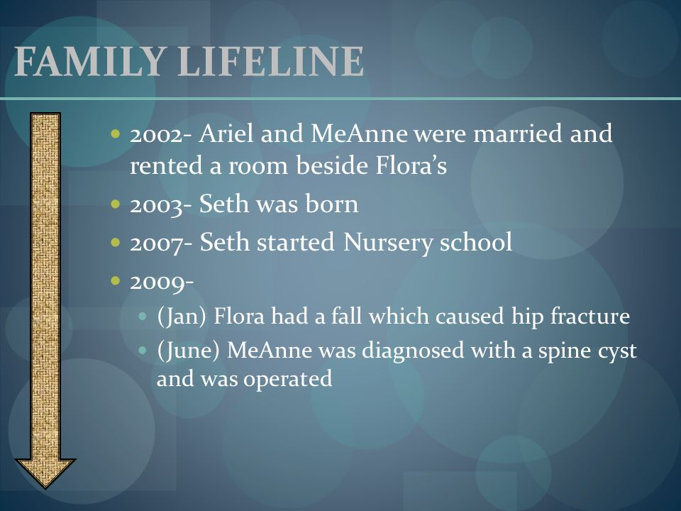 FAMILY LIFELINE 2002- Ariel and MeAnne were married and rented a room beside Flora's. 2003- Seth was born.