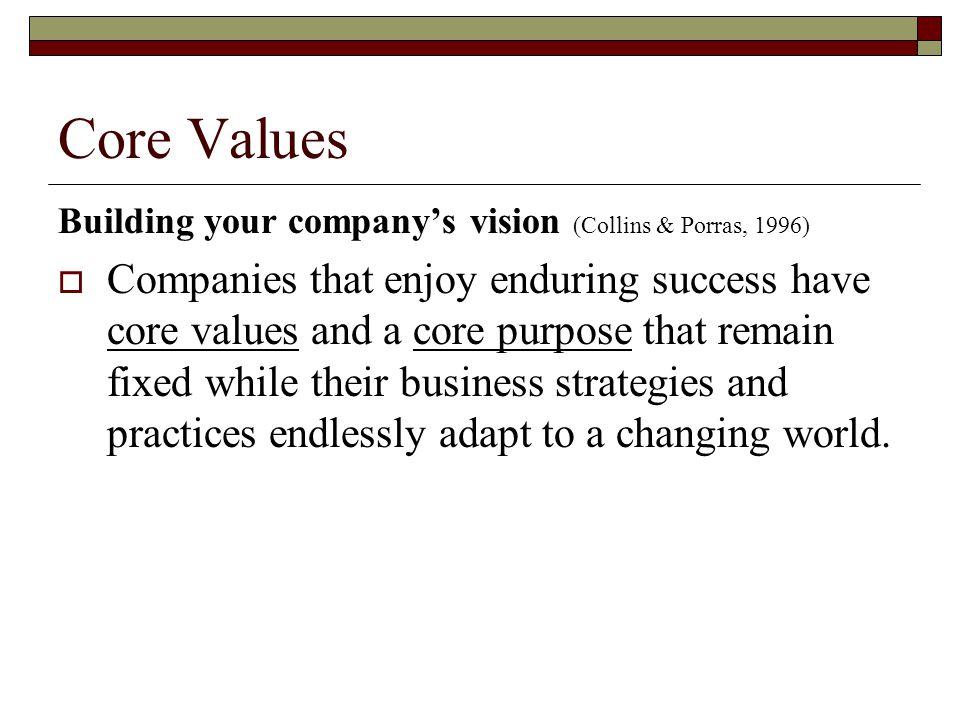 Core Values Building your company's vision (Collins & Porras, 1996)