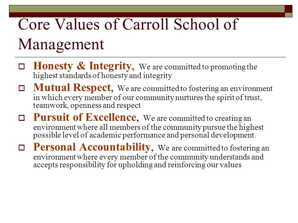 Core Values of Carroll School of Management