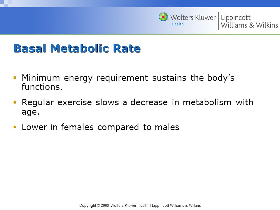 Basal Metabolic Rate Minimum energy requirement sustains the body's functions. Regular exercise slows a decrease in metabolism with age.