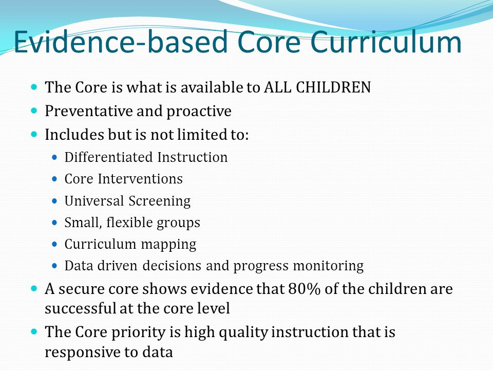 Evidence-based Core Curriculum