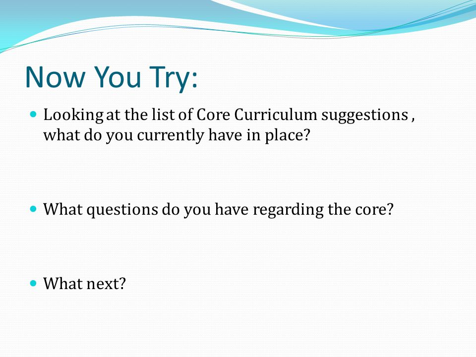 Now You Try: Looking at the list of Core Curriculum suggestions , what do you currently have in place