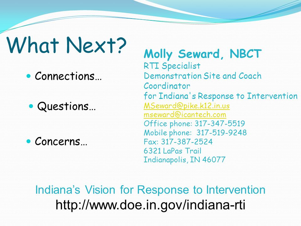 Indiana's Vision for Response to Intervention