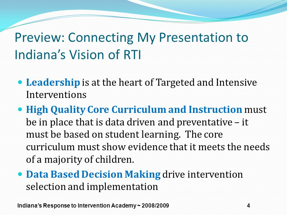 Preview: Connecting My Presentation to Indiana's Vision of RTI