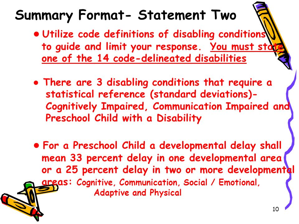 Summary Format- Statement Two