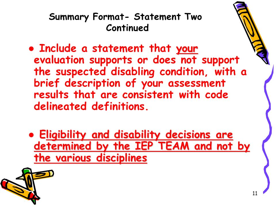 Summary Format- Statement Two Continued