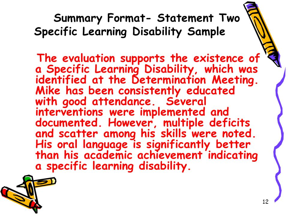 Summary Format- Statement Two Specific Learning Disability Sample