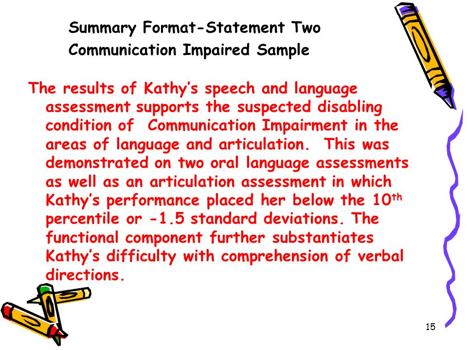 Summary Format-Statement Two