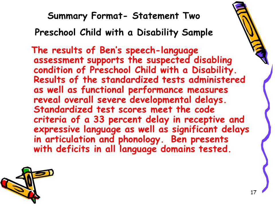 Summary Format- Statement Two Preschool Child with a Disability Sample
