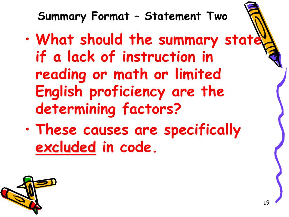 Summary Format – Statement Two