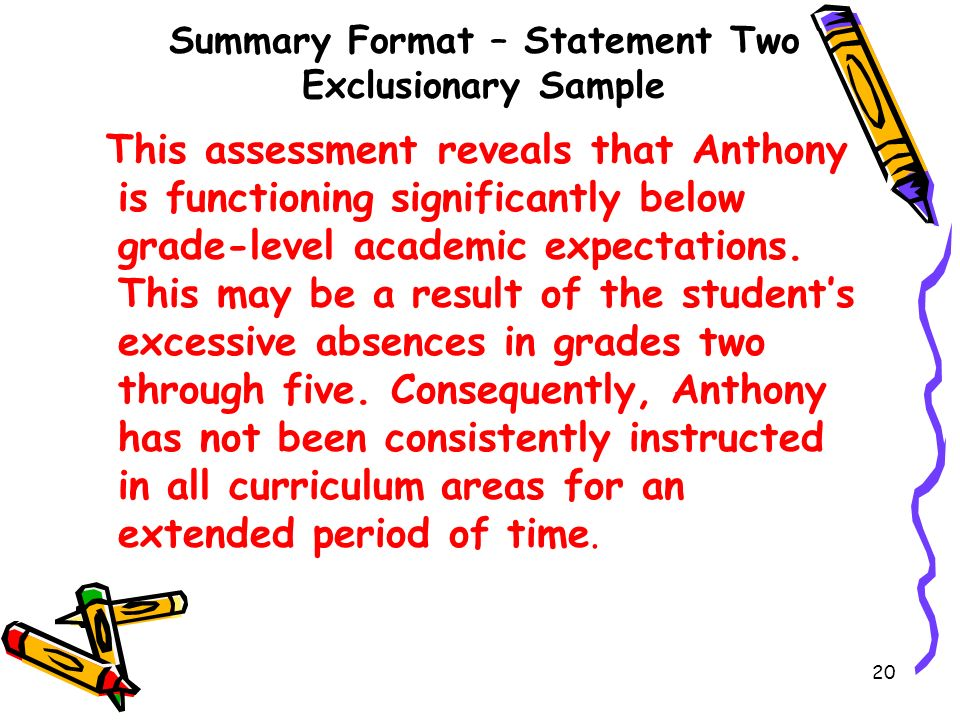 Summary Format – Statement Two Exclusionary Sample