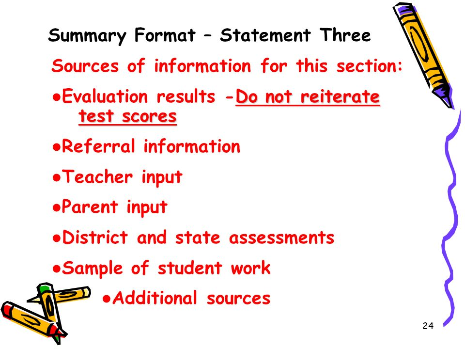 Summary Format – Statement Three