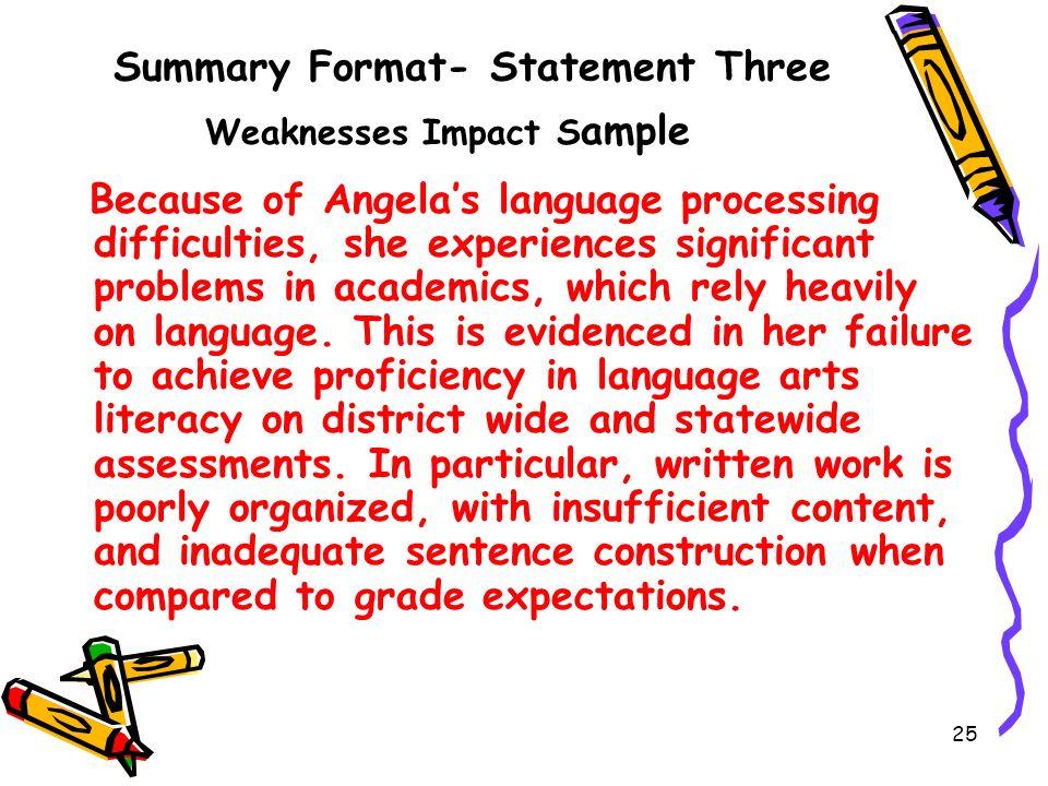 Summary Format- Statement Three