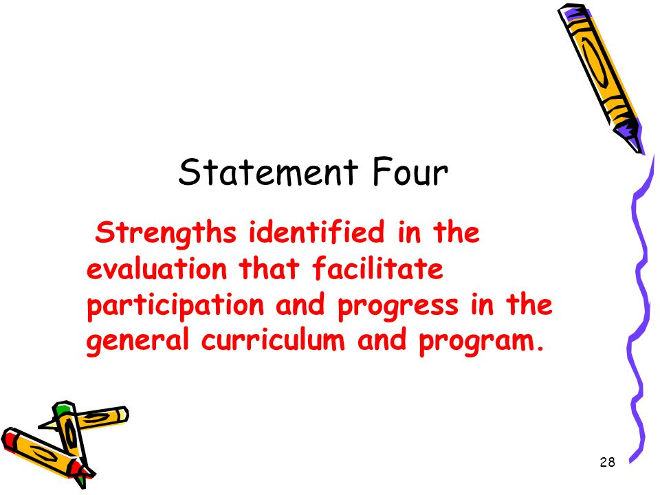 Statement Four Strengths identified in the evaluation that facilitate participation and progress in the general curriculum and program.