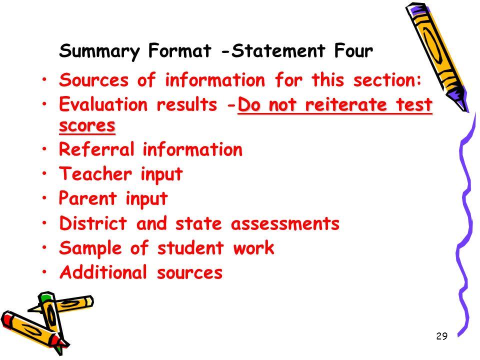 Summary Format -Statement Four