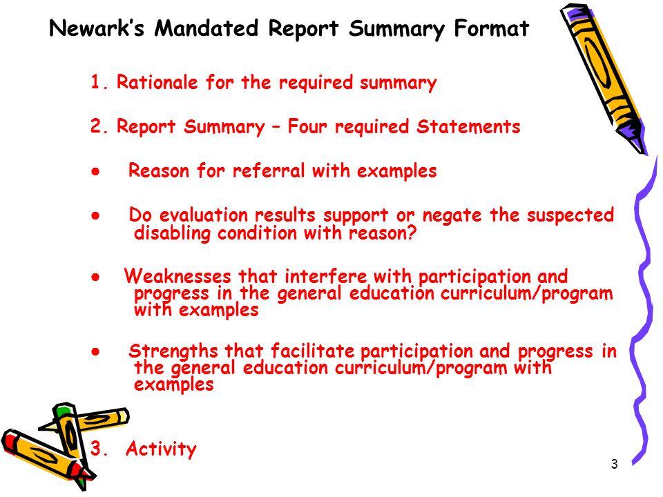 Newark's Mandated Report Summary Format
