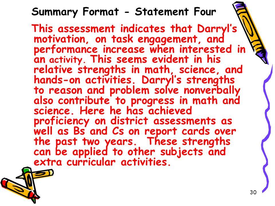 Summary Format - Statement Four