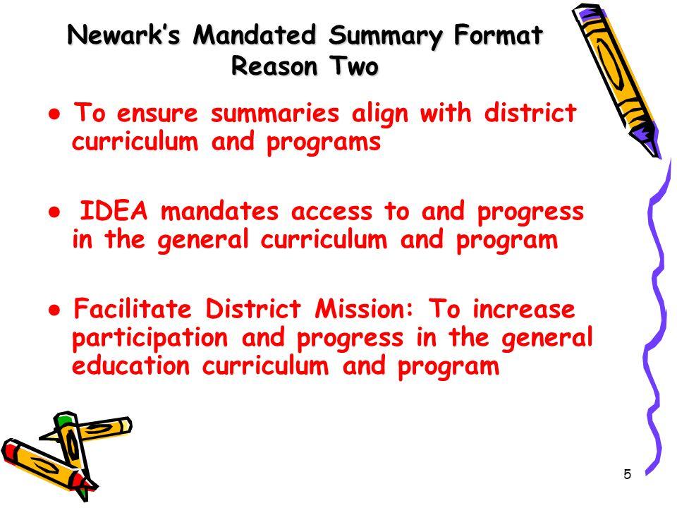 Newark's Mandated Summary Format Reason Two