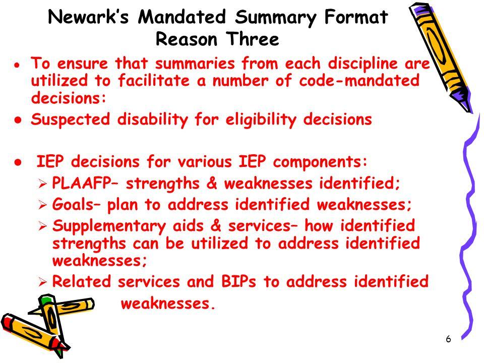 Newark's Mandated Summary Format Reason Three