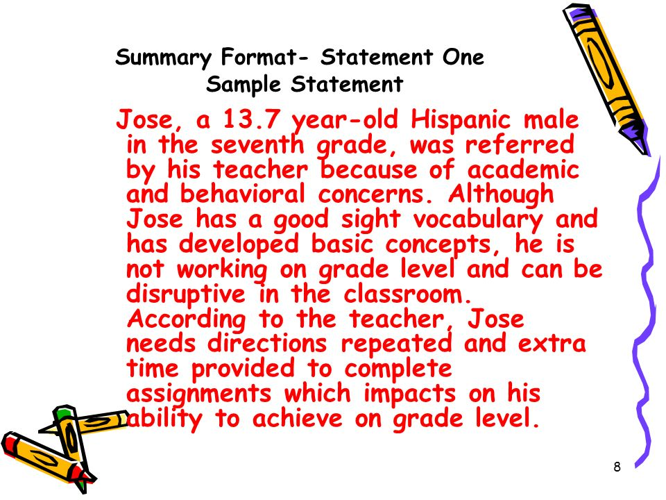 Summary Format- Statement One Sample Statement