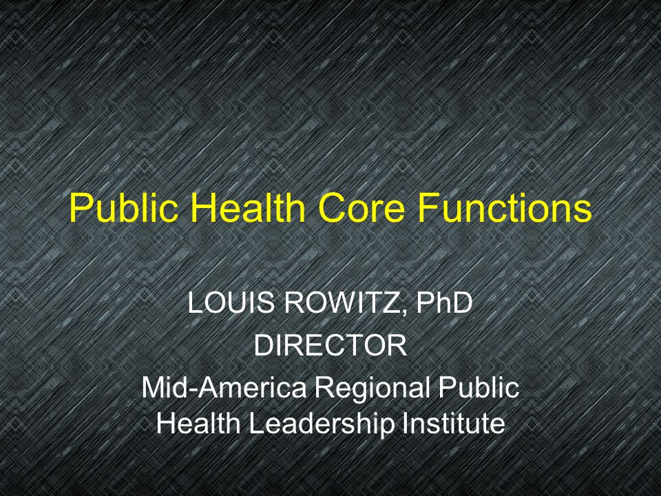 Public Health Core Functions