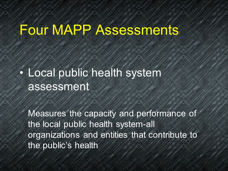 Four MAPP Assessments Local public health system assessment