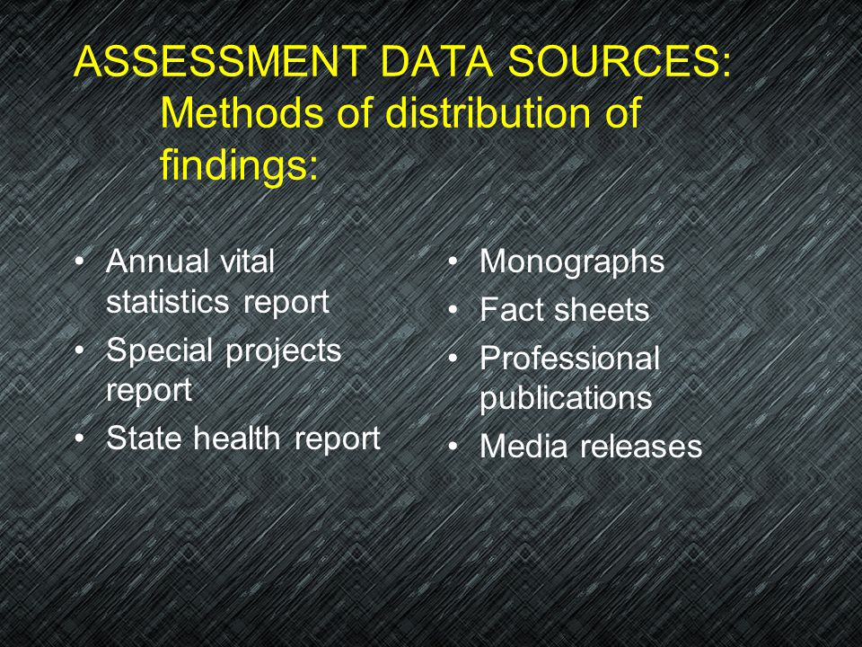 ASSESSMENT DATA SOURCES: Methods of distribution of findings: