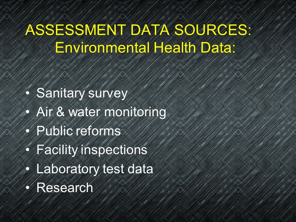ASSESSMENT DATA SOURCES: Environmental Health Data: