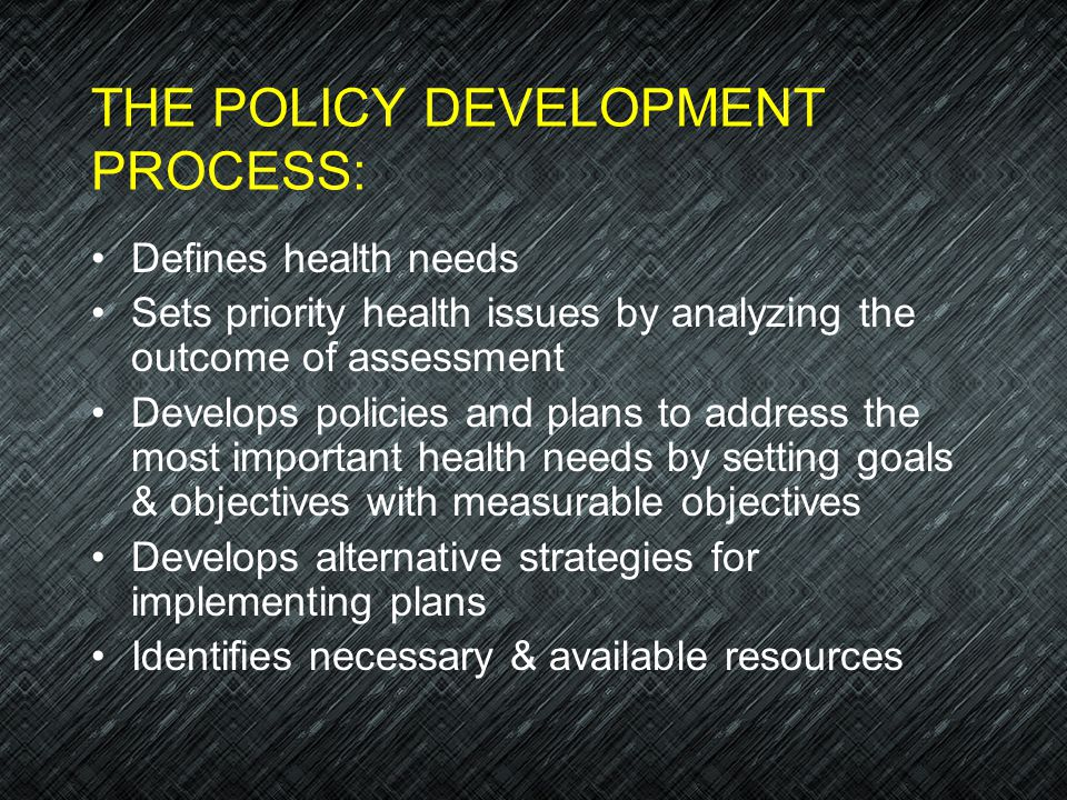 THE POLICY DEVELOPMENT PROCESS: