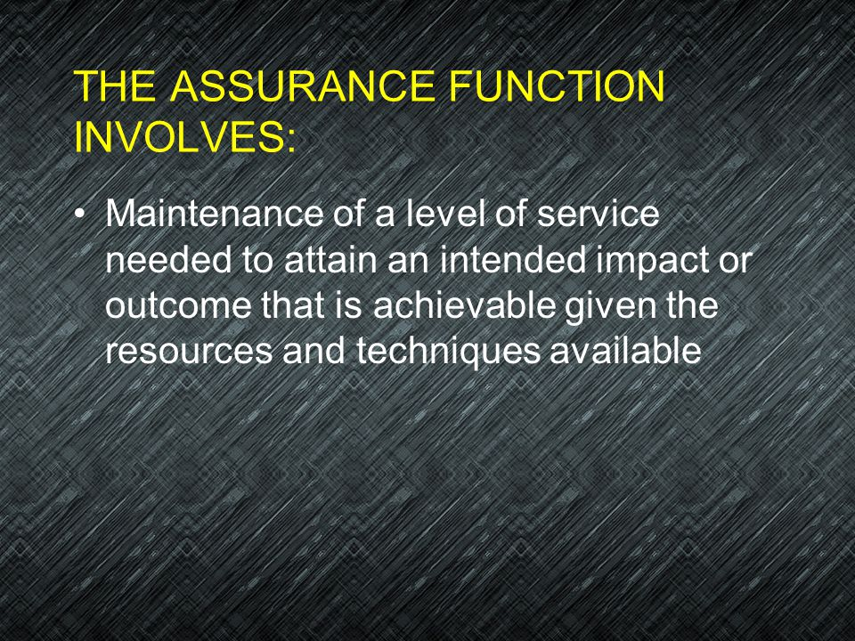 THE ASSURANCE FUNCTION INVOLVES: