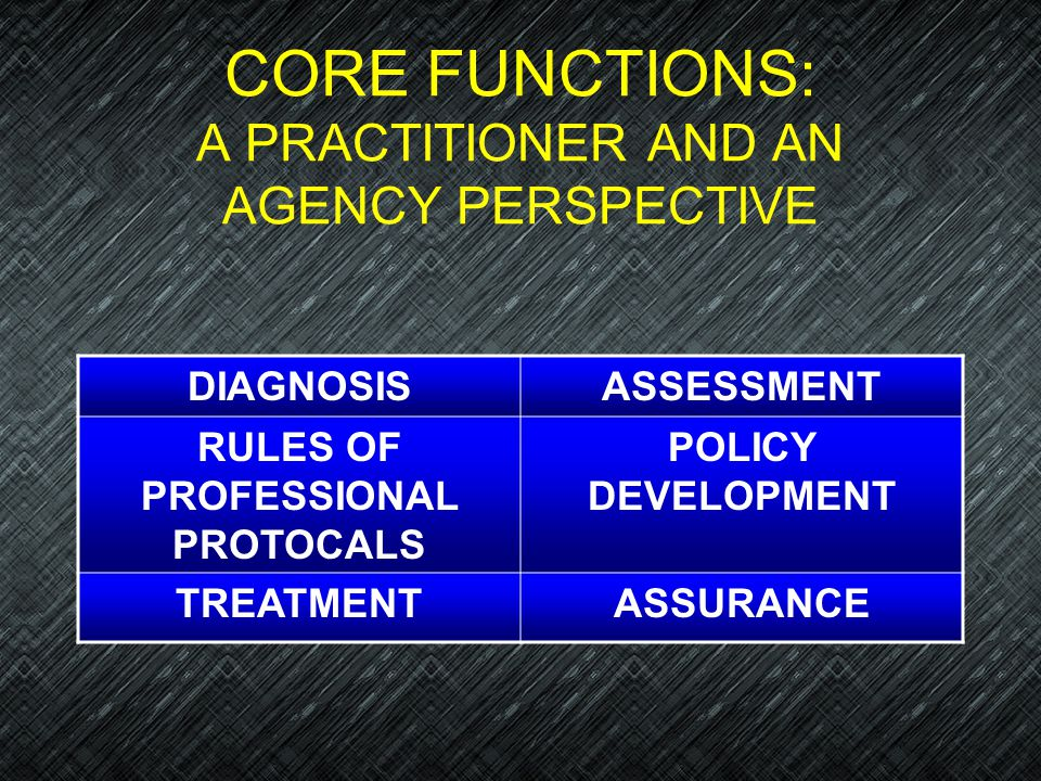 CORE FUNCTIONS: A PRACTITIONER AND AN AGENCY PERSPECTIVE