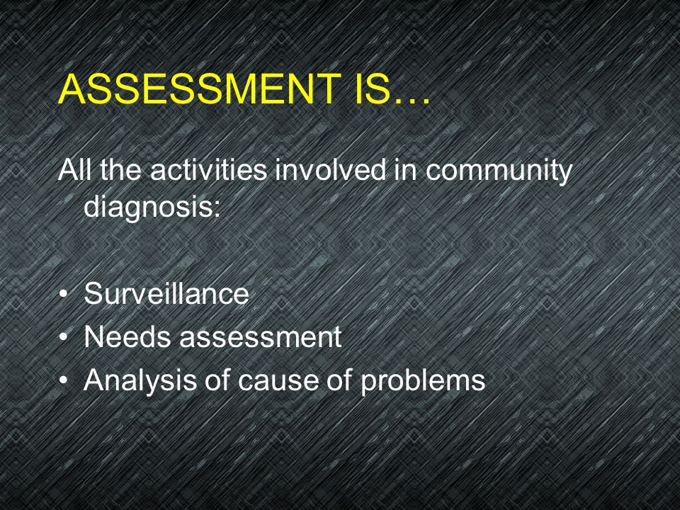 ASSESSMENT IS… All the activities involved in community diagnosis: