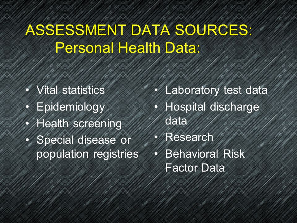ASSESSMENT DATA SOURCES: Personal Health Data: