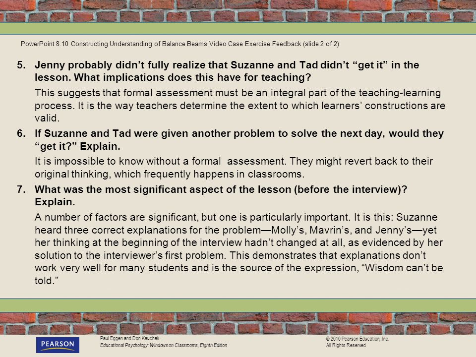 PowerPoint 8.10 Constructing Understanding of Balance Beams Video Case Exercise Feedback (slide 2 of 2)