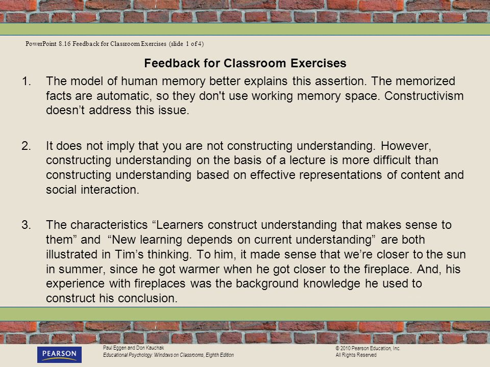 Feedback for Classroom Exercises