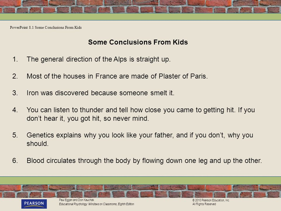 Some Conclusions From Kids