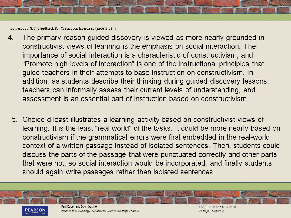PowerPoint 8.17 Feedback for Classroom Exercises (slide 2 of 4)