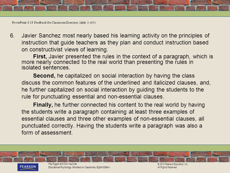 PowerPoint 8.18 Feedback for Classroom Exercises (slide 3 of 4)