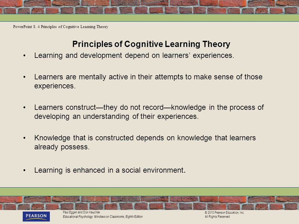 Principles of Cognitive Learning Theory