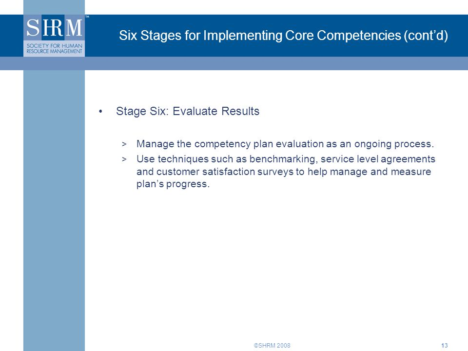 Six Stages for Implementing Core Competencies (cont'd)