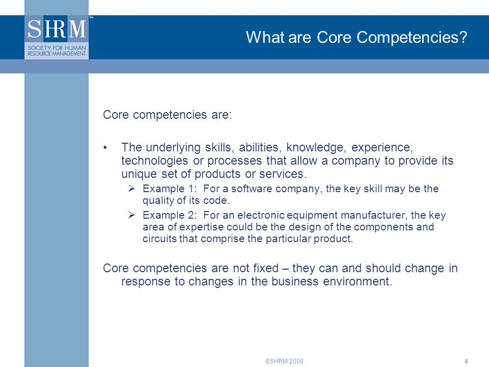 What are Core Competencies