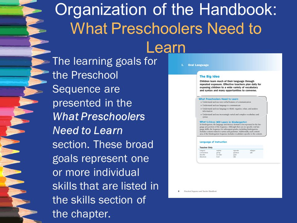 Organization of the Handbook: What Preschoolers Need to Learn