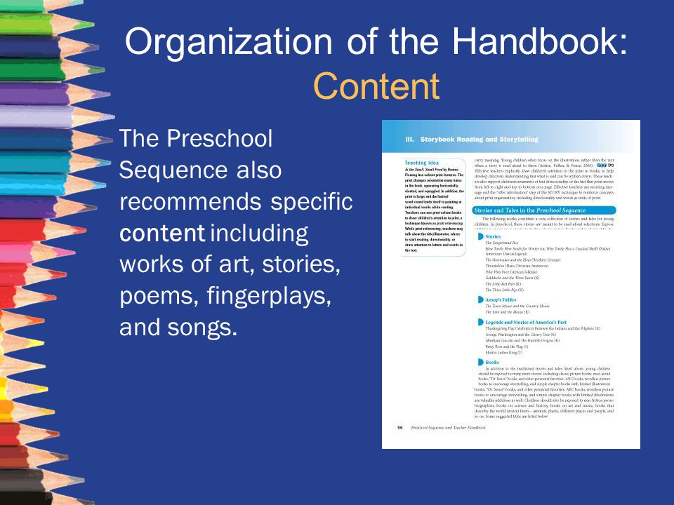 Organization of the Handbook: Content