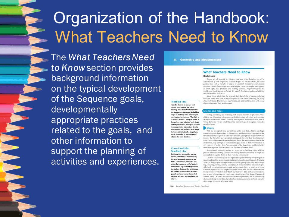Organization of the Handbook: What Teachers Need to Know