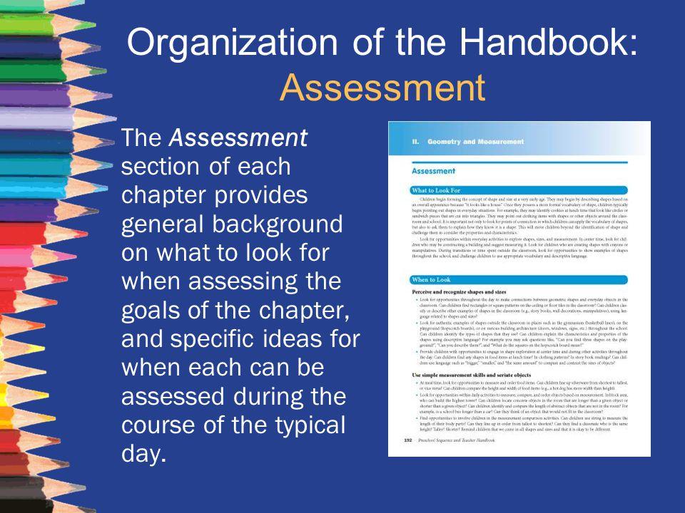 Organization of the Handbook: Assessment