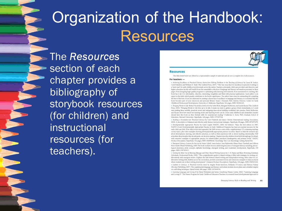 Organization of the Handbook: Resources