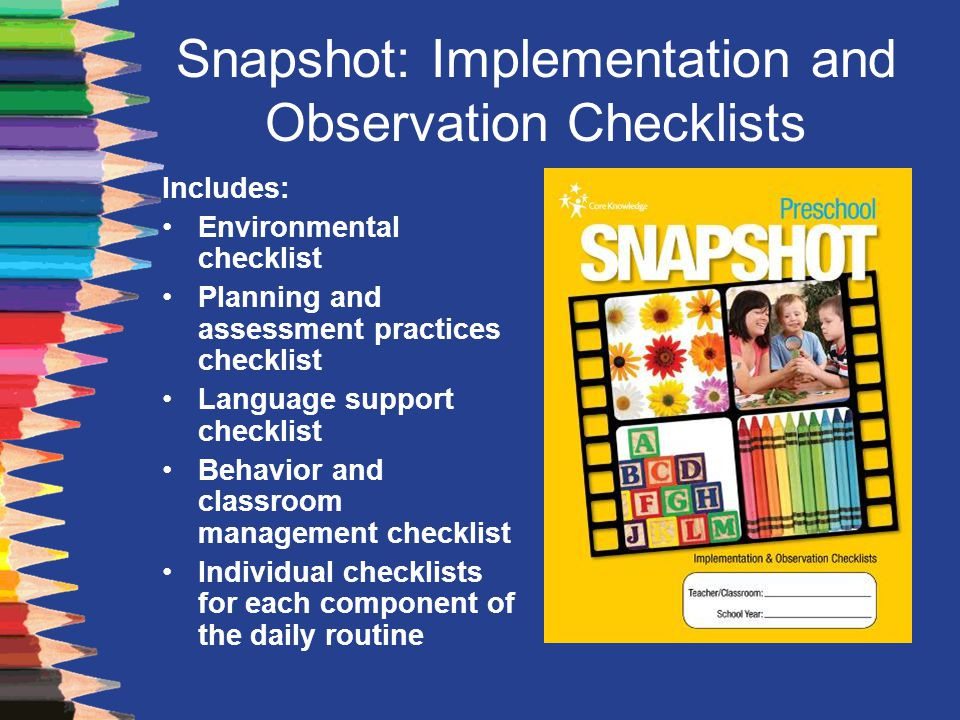 Snapshot: Implementation and Observation Checklists